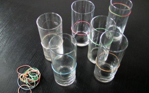 Gläser mit Gummiringen kennzeichnen